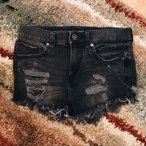 Distressed Black Jean Shorts